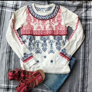 Lucky Lotus Boho Embroidered Pullover Sweatshirt S
